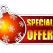 Special offer label with christmas ball and snowflakes — Stock Photo