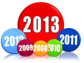 New year 2013 and previous years in colored circles — Стоковое фото