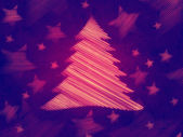 Retro violet background with christmas tree and stars — Stock Photo