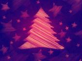 复古紫色背景与圣诞树和星星 — 图库照片