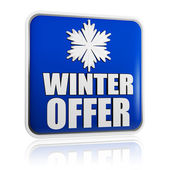 Winter offer blue banner with snowflake symbol — Stock Photo