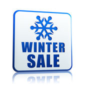 Winter sale white banner with snowflake symbol — Foto Stock