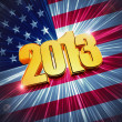 Golden figures year 2013 over shining american flag — Stock Photo