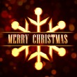 Merry Christmas in golden snowflake over red background with lig — Stock Photo #16237973
