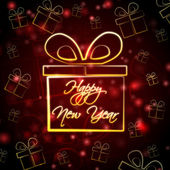 Happy New Year in present box — Stock Photo