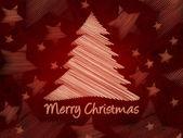 Merry christmas retro röd bakgrund med julgran och sta — Stockfoto
