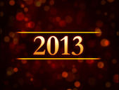 Year 2013 over red background with lights dots — Stock Photo