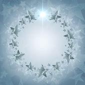 银星结束灰色背景与文本的圣诞花环 — 图库照片
