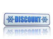 Rabatt weißen banner mit schneeflocken-symbole — Stockfoto
