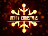 Merry Christmas in golden snowflake over red background with lig — Stock Photo