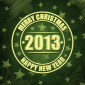 Merry Christmas and Happy New Year 2013 in circles over green re — Stock Photo