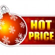 Hot price label with christmas ball and snowflakes — Stock Photo