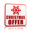 Christmas offer white banner with snowflake symbol — Stock Photo