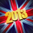 Golden figures year 2013 over shining UK flag — Stock Photo