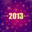 Year 2013 over violet retro background with stars — Stock Photo