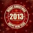Merry Christmas and Happy New Year 2013 in circles over red retr — Stock Photo
