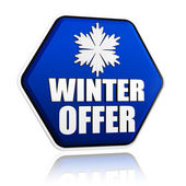 Winter offer blue hexagon banner with snowflake symbol — Stock Photo