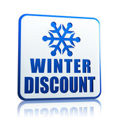 Winter discount white banner with snowflake symbol — Stock Photo