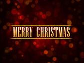 Zlatý text veselé vánoce na červeném pozadí světla tečkami — Stock fotografie