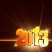 Golden year 2013 with shining rays, brown background — Stock Photo