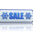 Winter sale white banner with snowflakes symbol — Stock Photo