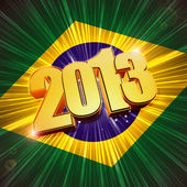 Golden figures year 2013 over shining Brazilian flag — Stock Photo