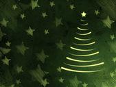 クリスマス ツリーと星のレトロなグリーン カード — ストック写真