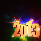 Golden year 2013 with rainbow rays and stars — Stock Photo
