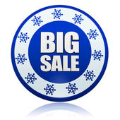 Winter big sale blue circle banner with snowflakes symbol — Stock Photo