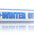 Winter offer white banner with snowflake symbol — Stock Photo