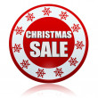 Christmas sale red circle banner with snowflakes symbol — Stock Photo