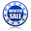 Winter sale blue circle banner with snowflakes symbol — Stock Photo