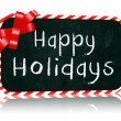 Happy Holidays blackboard banner with ribbon - Stock Photo