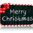 Merry Christmas blackboard banner with ribbon — Stock Photo