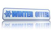 Zimní nabídka bílý nápis s vločka — Stock fotografie