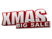Xmas big sale red white banner - letters and block — Stock Photo