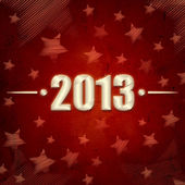 Year 2013 over red retro background with stars — Stock Photo