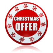 Christmas offer red circle banner with snowflakes symbol — Stockfoto