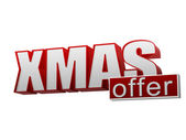 Xmas offer red white banner - letters and block — Stock Photo