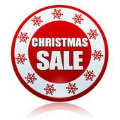 Banner de círculo vermelho de venda de natal com símbolo de flocos de neve — Foto Stock