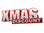 Xmas discount red white banner - letters and block — Stock Photo