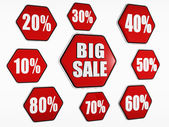 Big sale and percentages buttons — Stock Photo