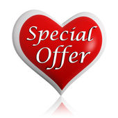 Valentines special offer red heart banner — Stock Photo