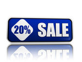20 percentage off sale blue banner — Stock Photo
