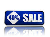 40 percentage off sale blue banner — 图库照片