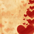 Stockfoto: Red striped hearts on old paper