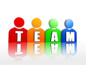 Team in colorful person signs — Stock Photo