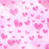 Pink striped hearts on old paper — Stock Photo