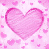 Big pink striped heart on old paper — Stock Photo