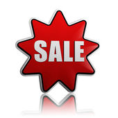 Sale in red star — Stock Photo